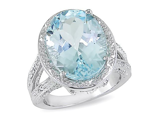 11.07ct TGW Blue Topaz – Sky White Topaz Fashion Ring Silver