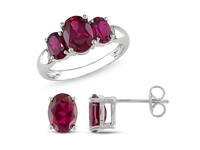 Set of Ring & Earring 6 3/4ct TGW Created Ruby