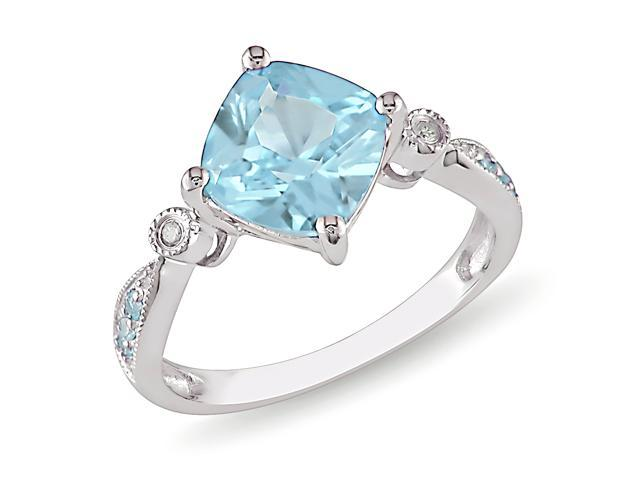 0.02ct Diamond TW & 2 5/8ct TGW Blue Topaz - Sky Fashion Ring Silver