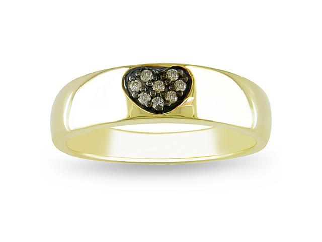 0.06ct Brown Diamond TW Fashion Ring Yellow Silver Black Rhodium Plated