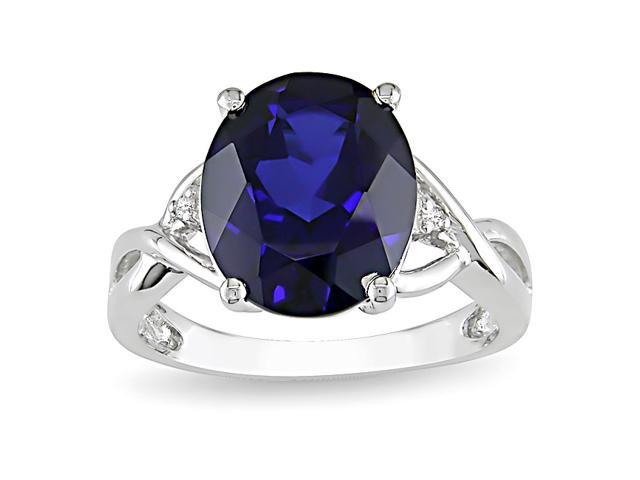 0.01ct Diamond TW & 7 1/2ct TGW Created Sapphire Fashion Ring Silver