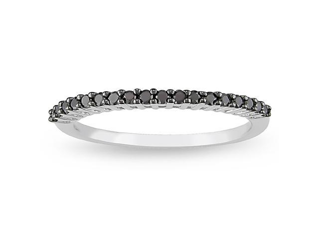 1/5 ct. Black Diamond Fashion Ring in 10k White Gold, I3-I4