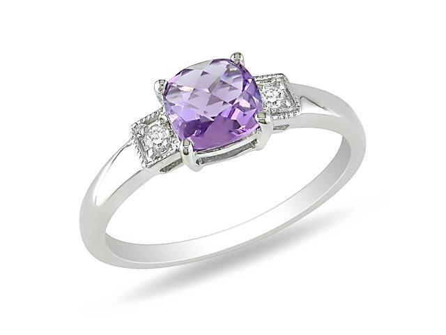 0.04ct Diamond TW & 4/5ct TGW Amethyst Fashion Ring Silver