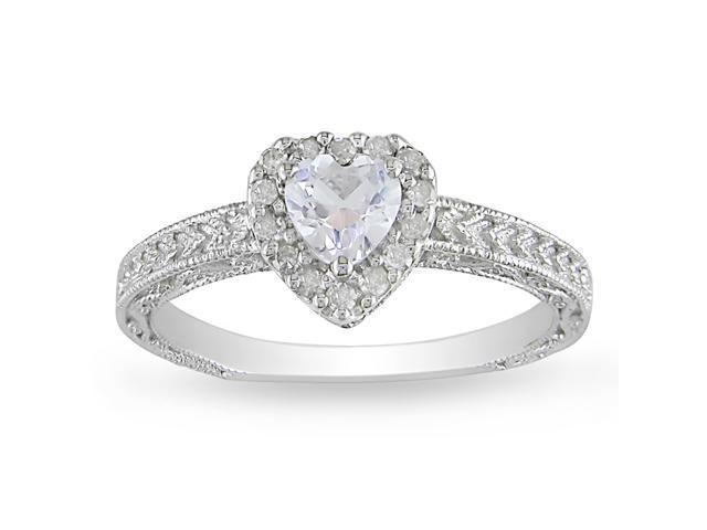 1/7ct Diamond TW & 3/5ct TGW Created White Sapphire Fashion Ring Silver