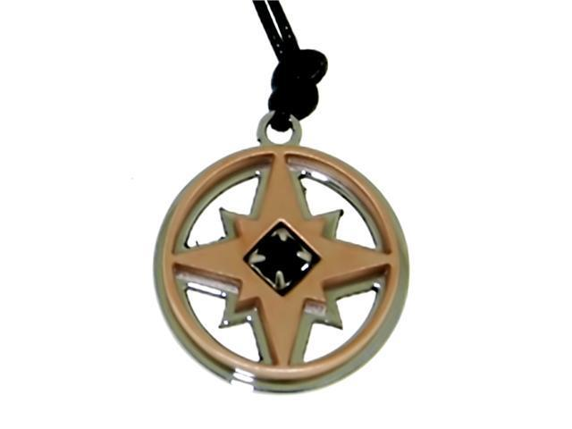 Star in Circle Pendant on Black Cord in Italian Stainless Steel