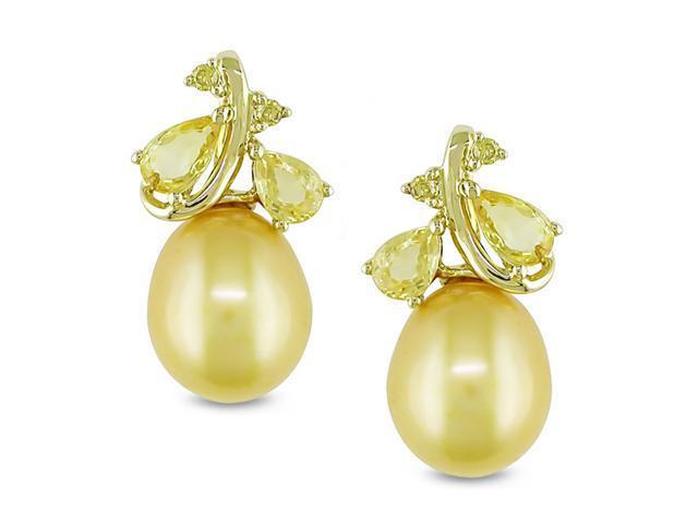 10k Yellow Gold Golden Pearl/ Sapphire/ Diamond Accent Earrings (8.-8.5 mm)
