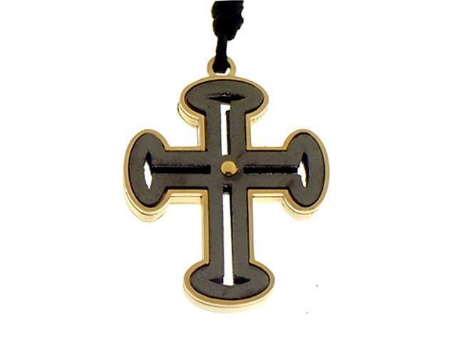 Cross Pendant on Black Cord in Italian Stainless Steel
