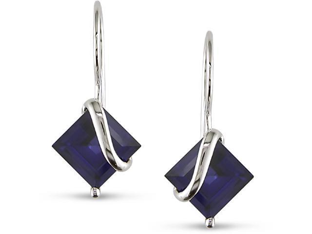 10k Gold Created Sapphire Swirl Earrings