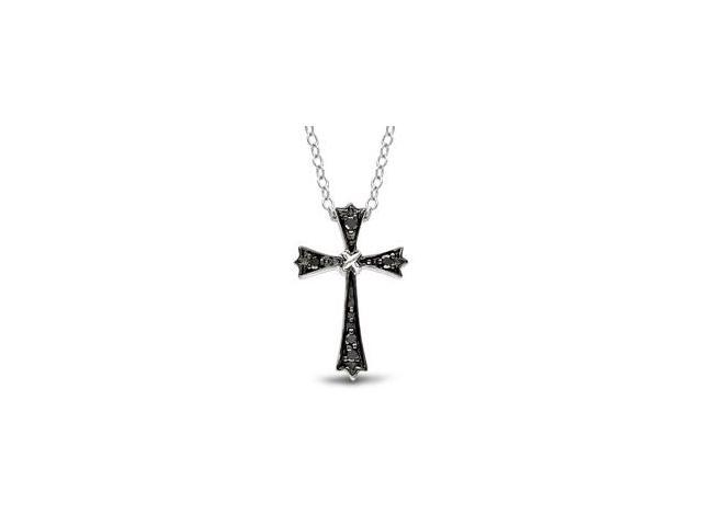 1/10 ct. Black and White Diamond Religious Pendant in Silver, GHI, I3