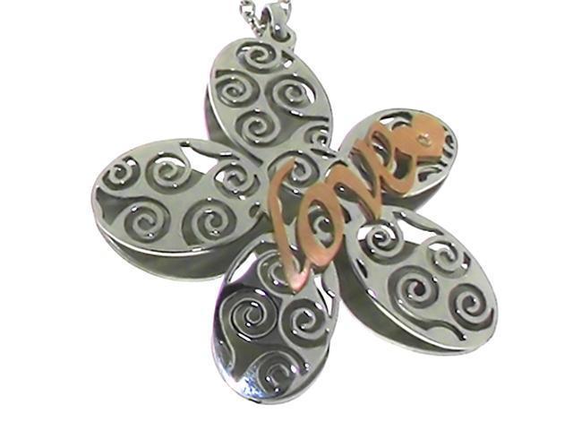 "Engraved ""Love"" on Flower Pendant in 2-Tone Italian Stainless Steel"
