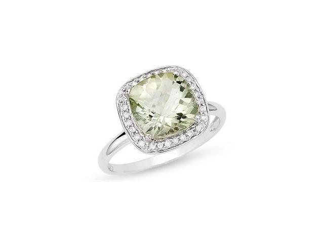 5/8 CT TGW Green Amethyst Fashion Ring with Diamond Accent in 10k White Gold