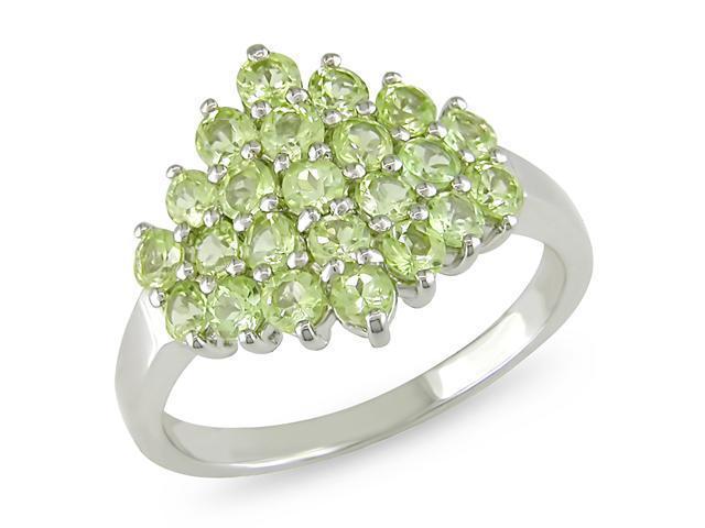 Round Peridot Gemstone Silver Ring
