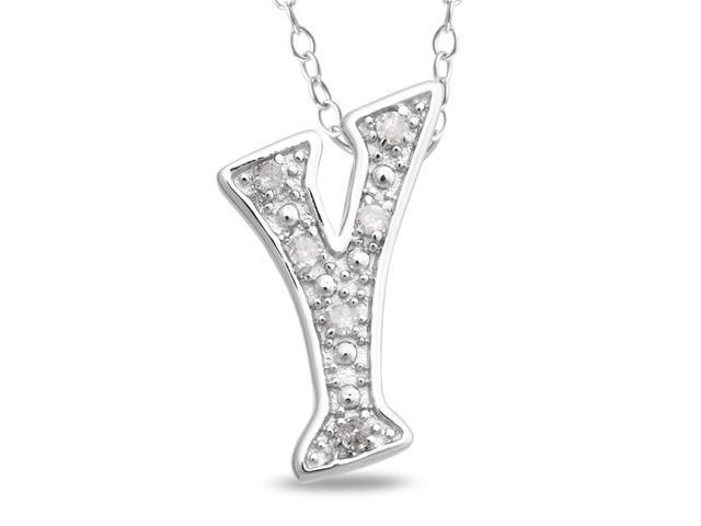0.05 CT Diamond TW Initials Pendant With Chain Silver I3