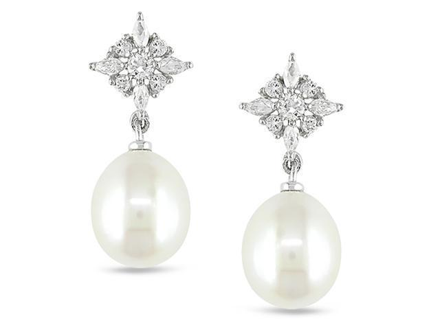 White CZz and 9-9.5 MM White Freshwater Pearl Ear Pin Earrings.