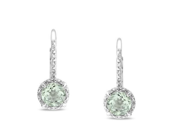 Silver Diamond Accent and Green Amethyst Leverback Earrings