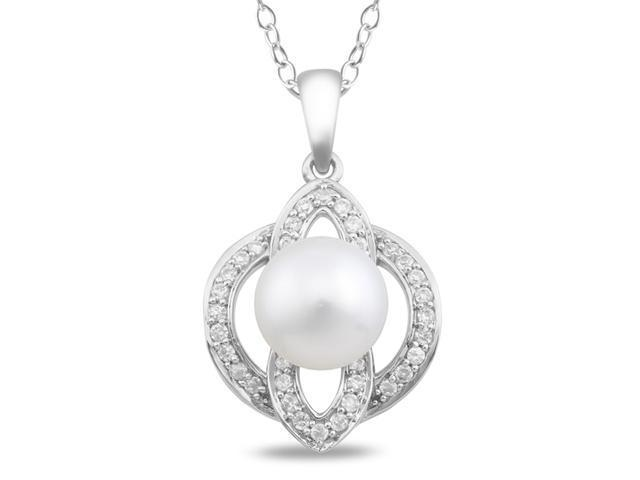 White Freshwater Pearl surrounded by 36 white CZs. Hangs from silver chain.