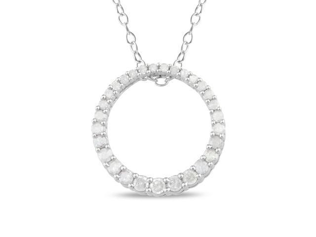1/3 CT Diamond TW Circle Pendant With Chain Silver I3