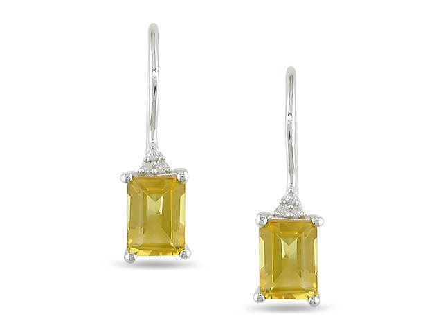 0.03 CT Diamond TW And 1 3/4 CT TGW Citrine Euro Back Earrings Silver I3