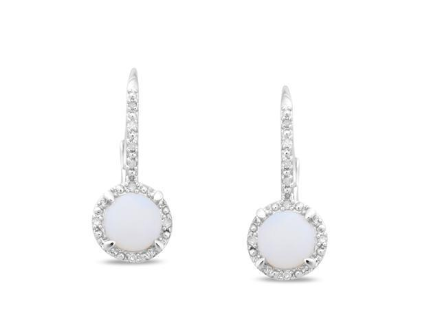 Silver Diamond Accent and Opal Leverback Earrings