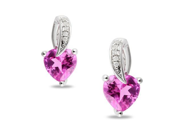 Silver Diamond Accent and 2 CT TGW Created Pink Sapphire Earrings