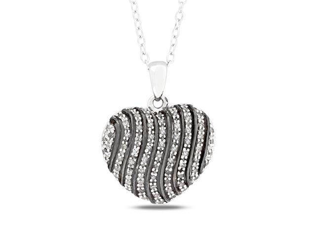 1/4 CT Diamond TW Heart Pendant With Chain Silver I3 Black Rhodium Plated