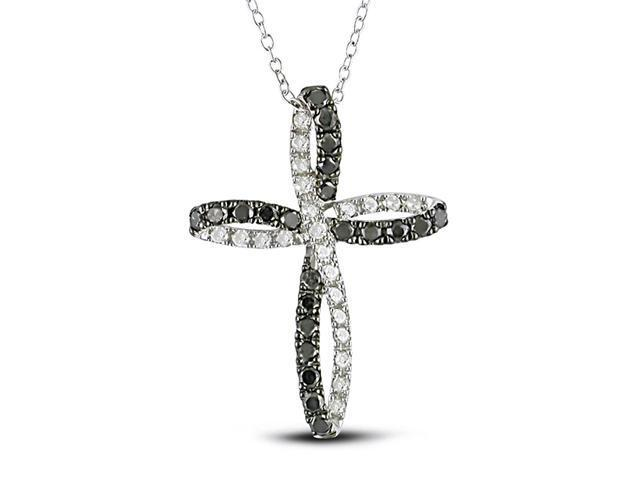 1 CT Black and White Diamond TW Religious Pendant With Chain in Silver