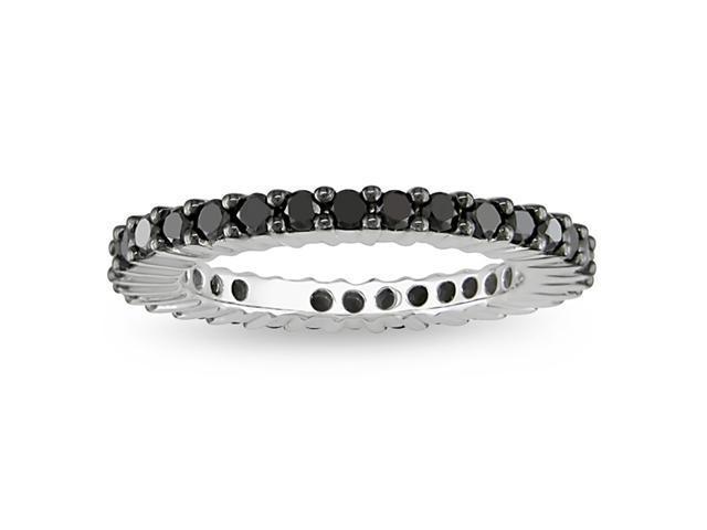 18K White Gold 1 CT TDW Black Diamond Eternity Ring, size 6