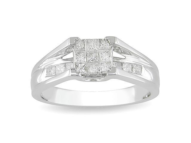 10k White Gold 1/2 CT TDW Diamond Ring