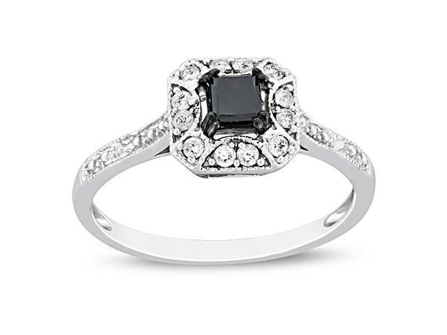 10k White Gold Black Rhodium Plated 3/5 CT TDW Black and White Diamond Fashion Ring