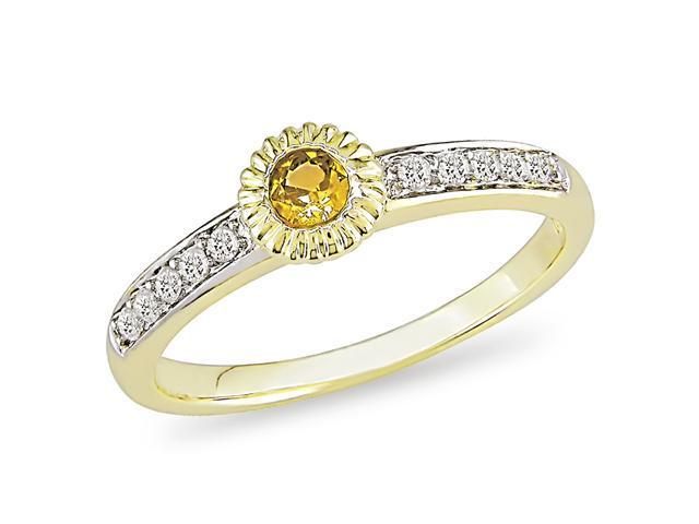 10K Yellow Gold 1/10 CT Diamond TW And 1/7 CT TGW Yellow Sapphire Fashion Ring