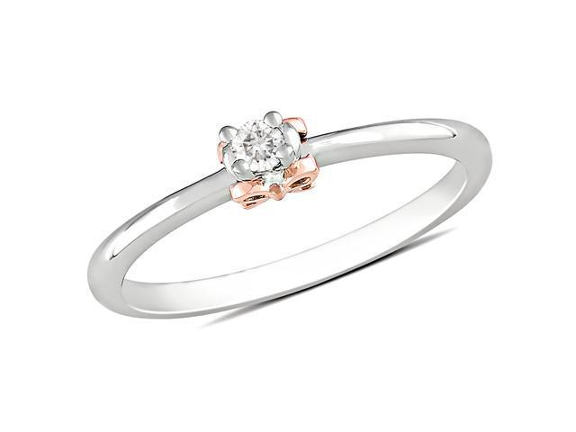 14k Pink Gold Silver 0.05 CT TDW Diamond Bow Ring