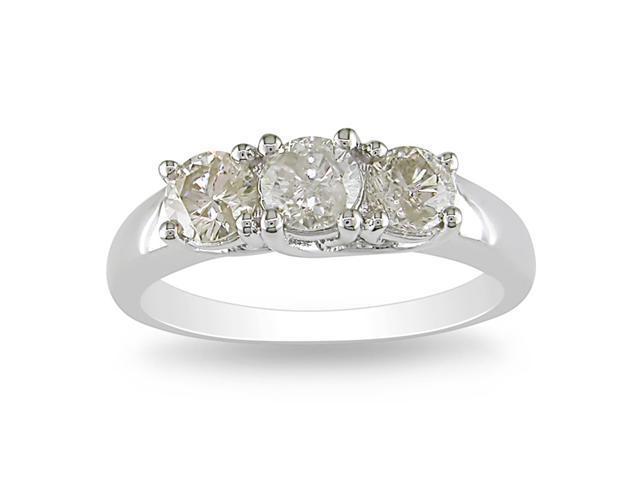 14k White Gold 1 CT TDW Diamond 3 Stone Ring
