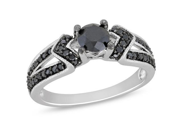 Silver  Black Rhodium Plated 1 CT TDW Black Diamond Engagement Ring
