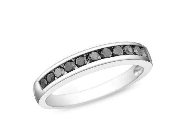 Silver  Black Rhodium Plated 1/2 CT TDW Black Diamond Ring