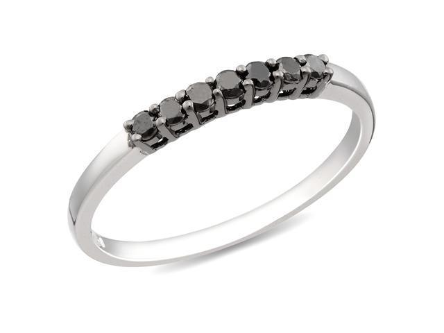 Silver  Black Rhodium Plated 1/3 CT TDW Black Diamond Ring