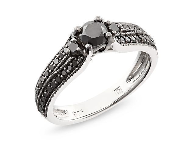 Silver  Black Rhodium Plated 3/4 CT TDW Black Diamond Engagement Ring