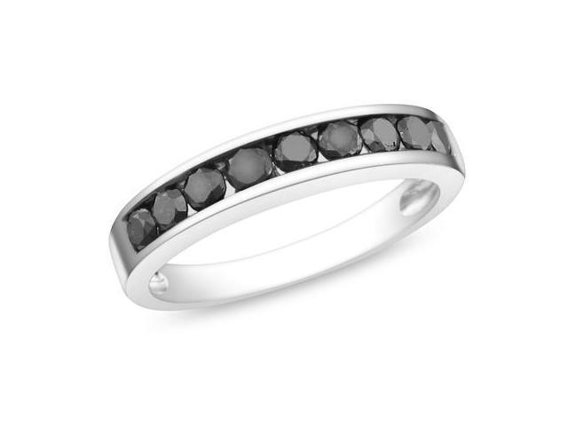 Silver  Black Rhodium Plated 3/4 CT TDW Black Diamond Ring