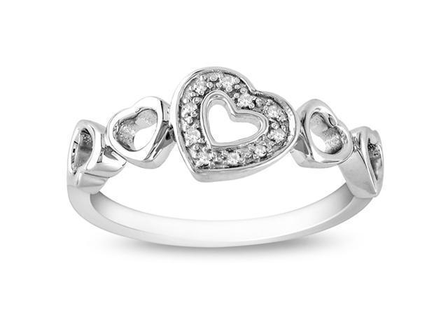 Silver 0.03 CT TDW Diamond Ring