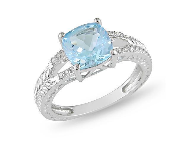 Silver 0.04 CT TDW Diamond & 2 1/2 CT TGW Blue Topaz - Sky Ring