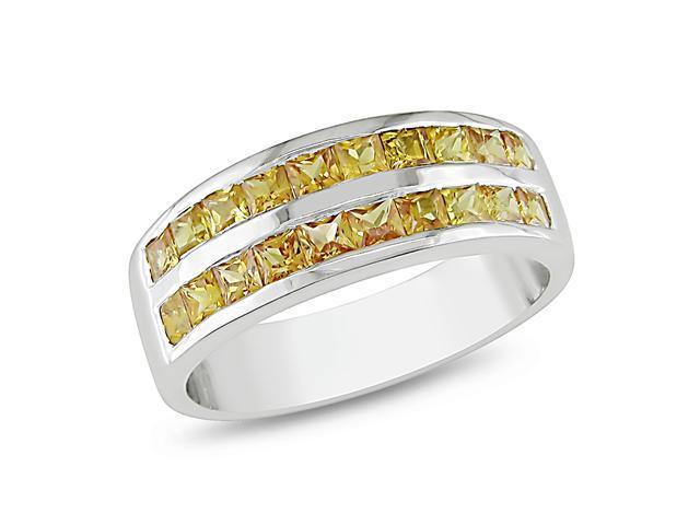 Silver 2-3/8ct TGW 2.5mm Square Orange Sapphire Ring