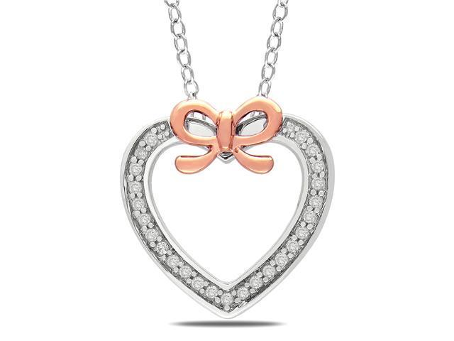 14k Pink Gold 1/8 CT TDW Diamond Heart Pendant With Chain