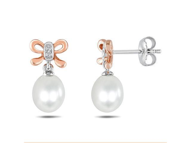 Sterling Silver 0.028 CT Diamond White freshwater Pearl Pink Rhodium Plated Dangle Earrings (G-H, I3)