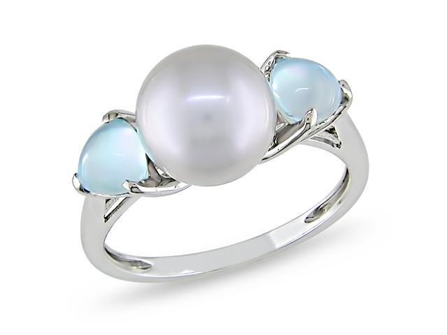 10k White Gold Cultured Freshwater Grey Pearl and 1 1/5ct TGW Multi-gemstone Fashion Ring