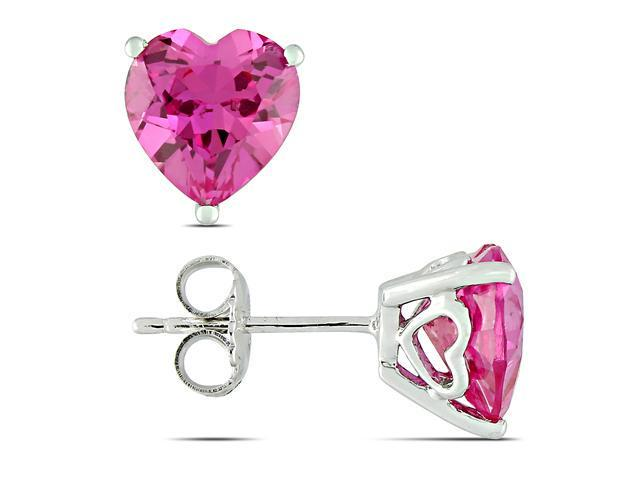 Sterling Silver 4-1/2 CT TGW Created Pink Sapphire Stud Earrings