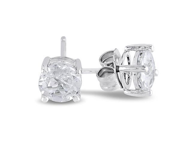 Sterling Silver 2 CT TGW White Topaz Solitaire Earrings
