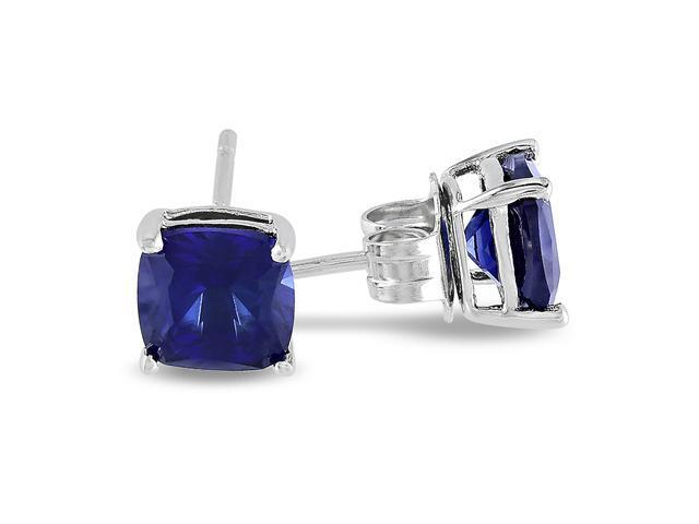 Sterling Silver 2 1/2 CT TGW Created Blue Sapphire Solitaire Earrings