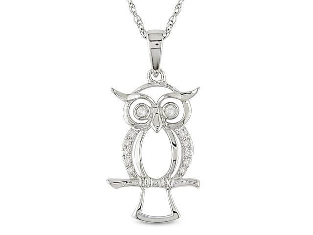 10k White Gold 0.05ct TDW Diamond Owl Pendant