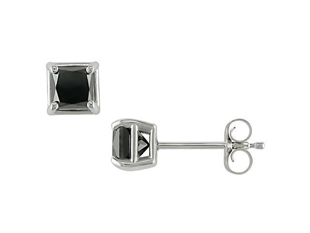 10K White Gold 3/4 Carat Diamond Princess Cut Black Diamond Solitaire Earrings
