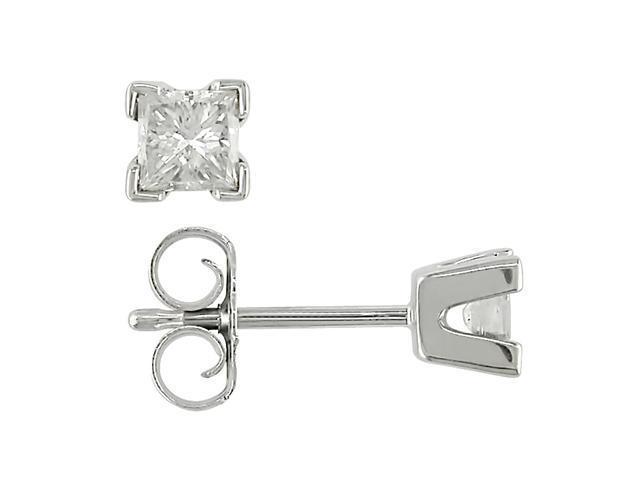 14K White Gold 1/2 ctw Diamond Solitaire Earrings