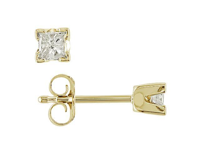 14K Yellow Gold 1/4 ctw Diamond Solitaire Earrings